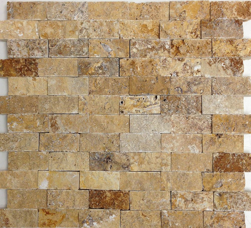 Gold Travertine Split-Face Mosaic from Sefa Stone. Perfect for ...