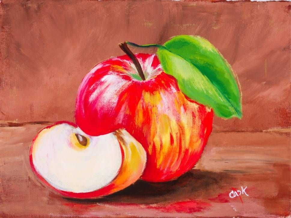 Introductory Acrylic Paint Tutorial Of An Apple And A Slice By Ginger Cook Free Lesson Apple Painting Acrylic Painting Inspiration Fruit Painting