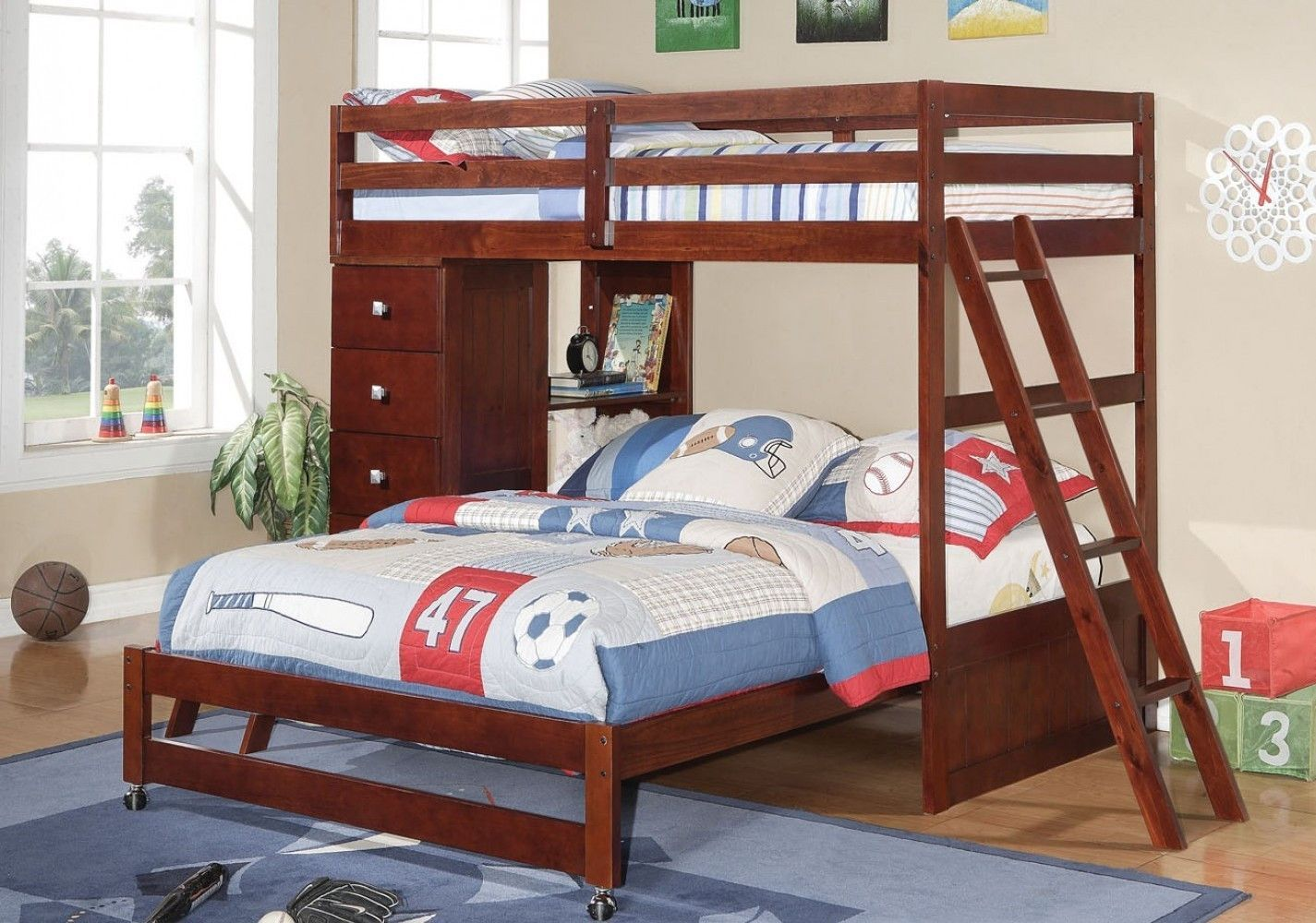 Loft bed with desk dresser  Jacob Twin over Full Bunk Bed with Dresser and Bookcase  Products