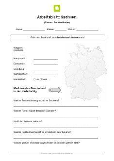 Bundesland Sachsen Arbeitsblatt | Kostenlose Arbeitsblätter ...