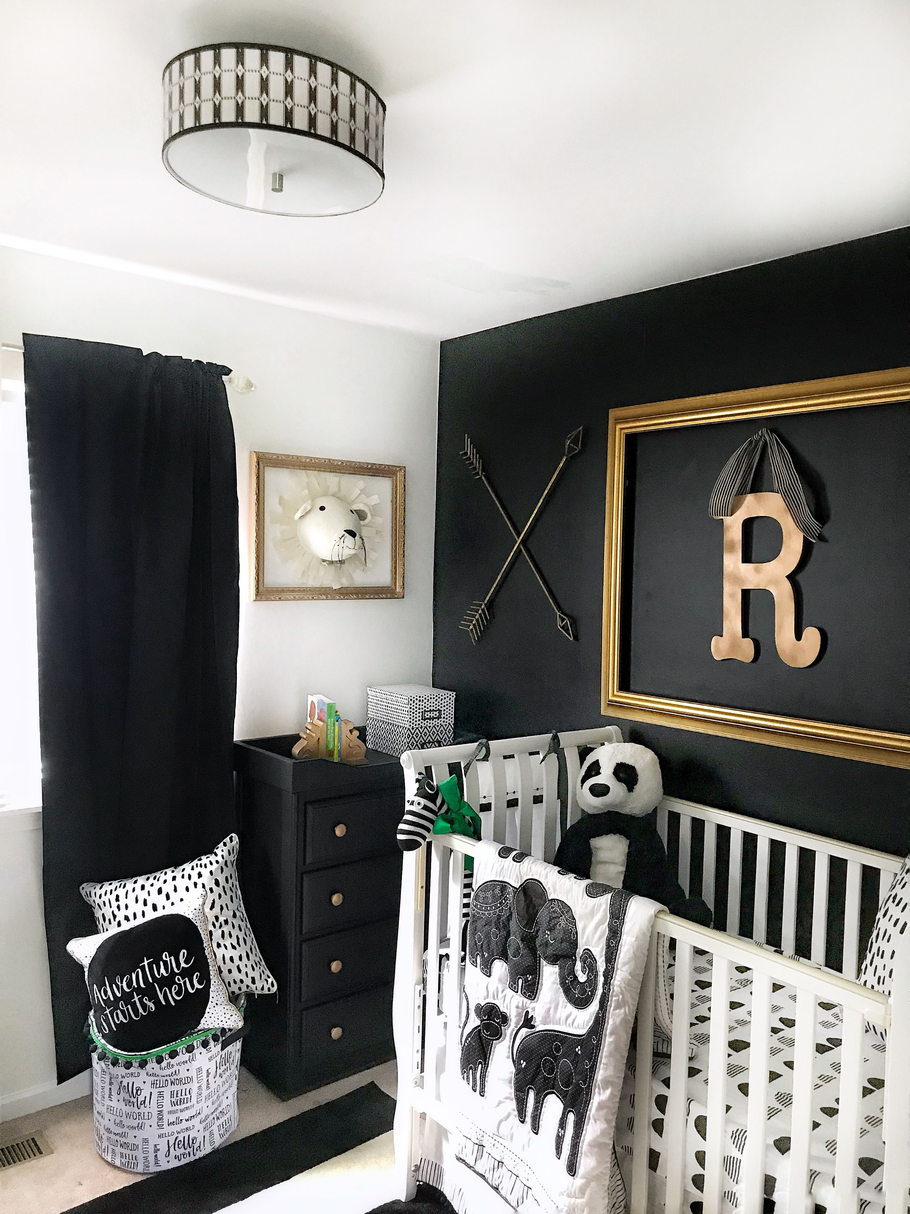 Black And White Baby Nursery Gold Accents Nursery Baby Room