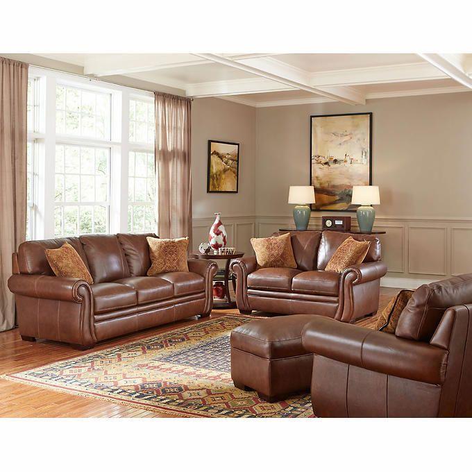 Best Piedmont 4 Piece Top Grain Leather Living Room Set With 640 x 480