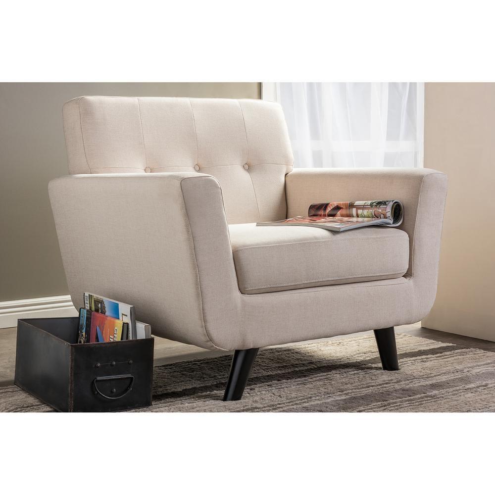 Baxton Studio Damien Scandinavian Beige Fabric Upholstered Accent Chair-28862-6533-HD - The Home Depot