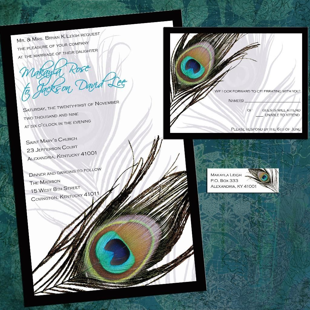 Framed Peacock Custom Wedding Invitation Suite With Rsvp Cards And