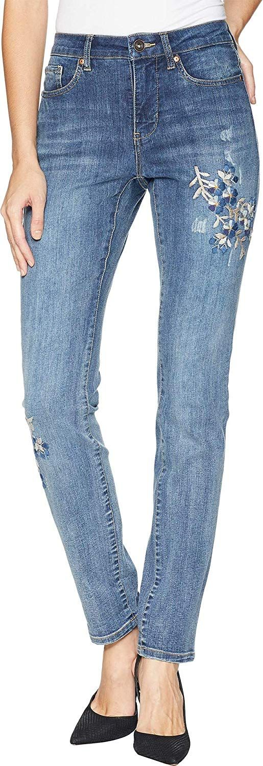 Tribal Womens Five-Pocket Boyfriend Jeans with Embroidery Detail in Vintage Blue