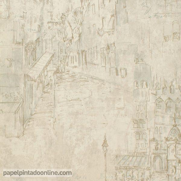 Papel pintado paris rs70707 con fondo en tonos de beige y for Papel pintado tonos beige