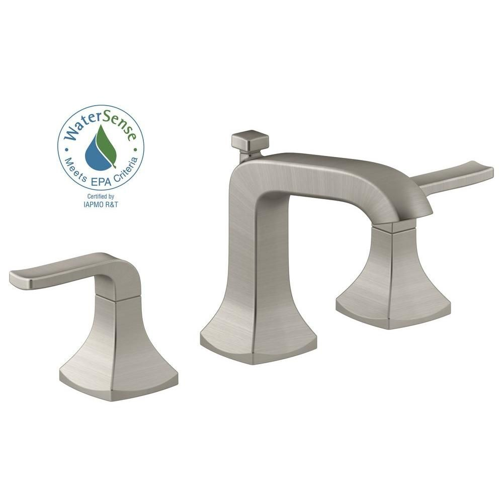 kohler k 3 bgd purist widespread bathroom sink faucet with low cross  handles and low gooseneck