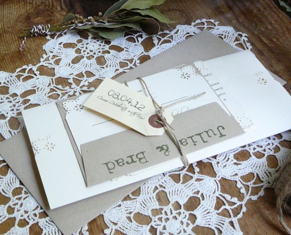 Rustic Country Wedding  Pocketfold Invitation Stock Sample For Purchase
