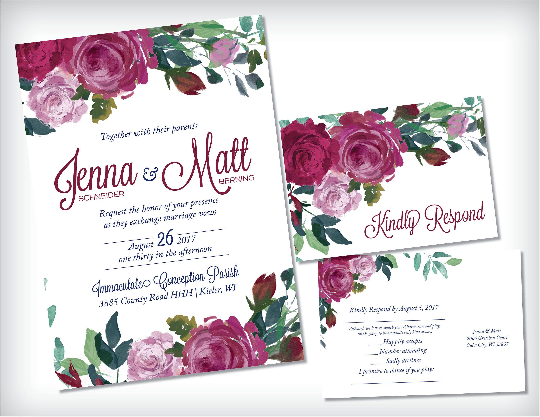 Floral Wedding Invitation Blush Berry Greenery Wedding Invitation