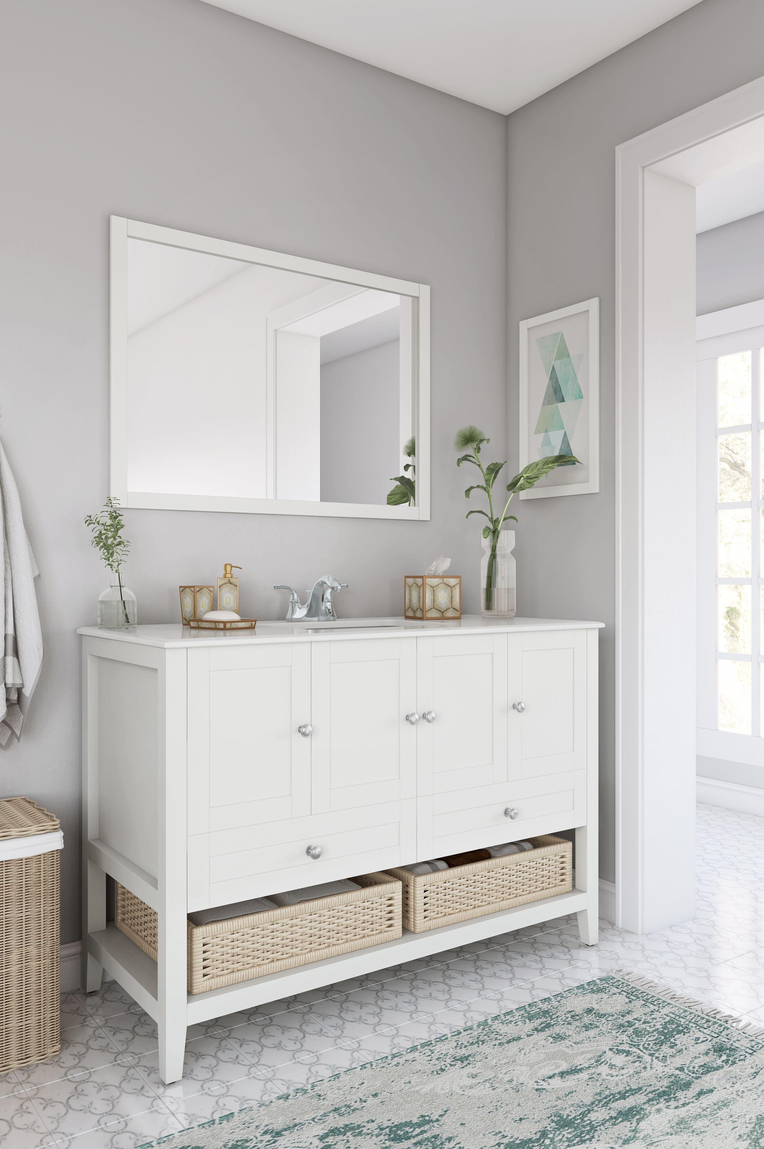 Cape Cod 48 Inch Bath Vanity With White Engineered Quartz Marble
