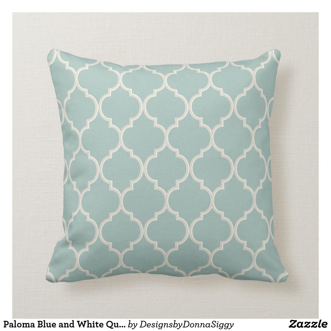 Paloma Blue And White Quatrefoil Pattern Throw Pillow Zazzle Com