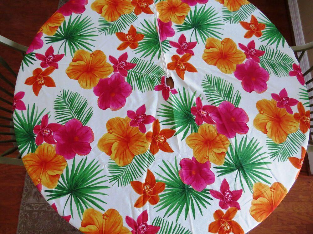 Round Umbrella Zipper Tablecloth Hawaiian Print Outdoor Fabric By