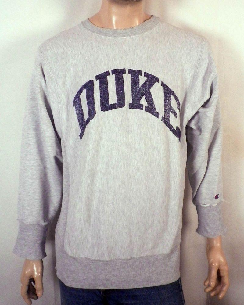 hot sale online 71273 53a86 vtg 80s 90s faded worn Champion Reverse Weave Duke Blue ...