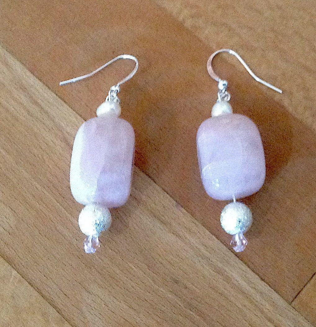 Rose Quartz Earrings Pink Stone Earrings Silver Stone Earrings Natural  Stone Earrings Freshwater Pearl Earrings Gift For Her Mothers Day