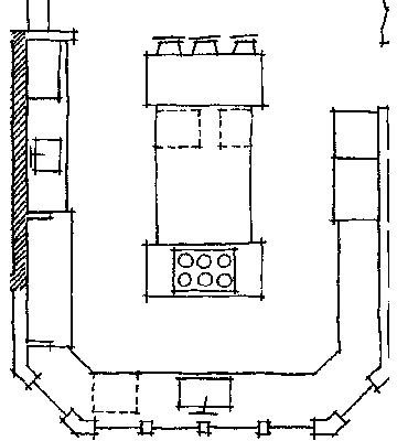 Kitchen floor plan ideas stove islands and sinks for U shaped kitchen floor plans