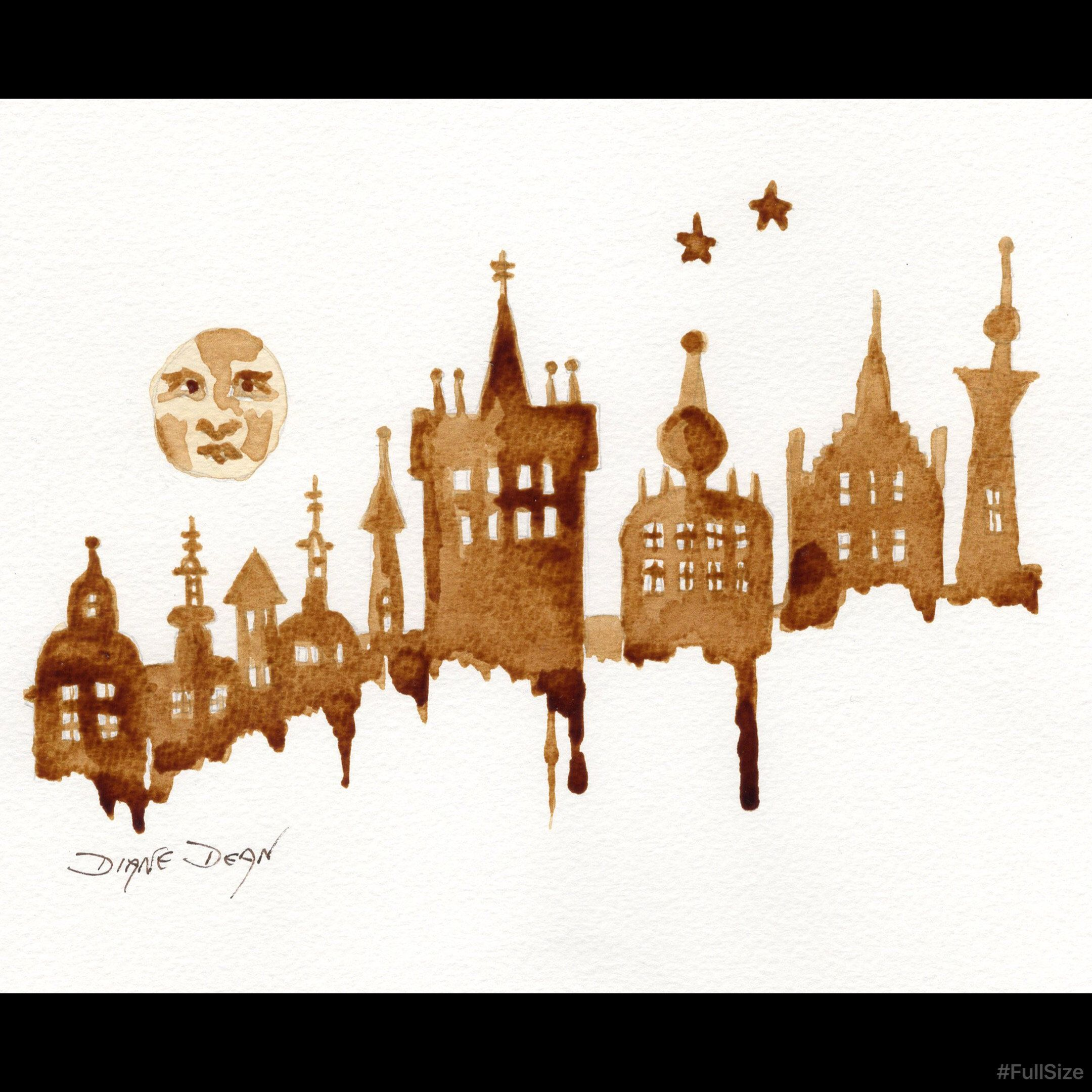 Art Print Man in the Moon Cityscape Coffee Art in 2020 (With images)   Whimsical art, Art prints ...
