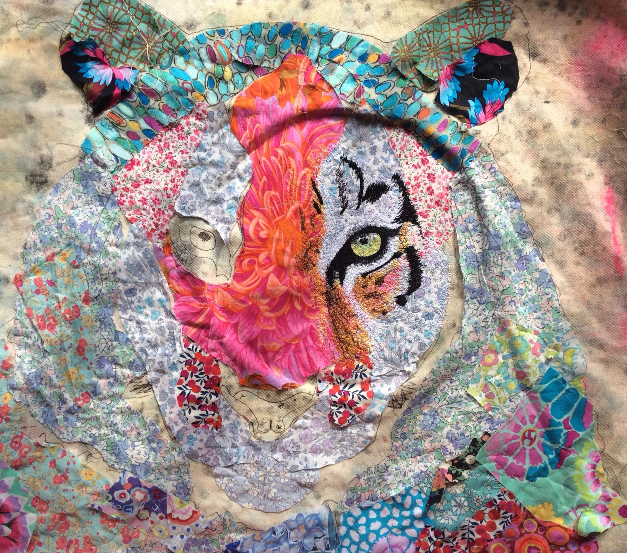 Siberian Tiger Process Embroidery Fabric Art Textile