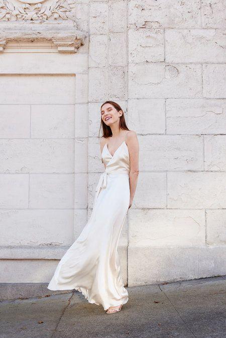 Kamperett Nuit Silk Satin Wrap Dress Ivory Silk Wedding Dress