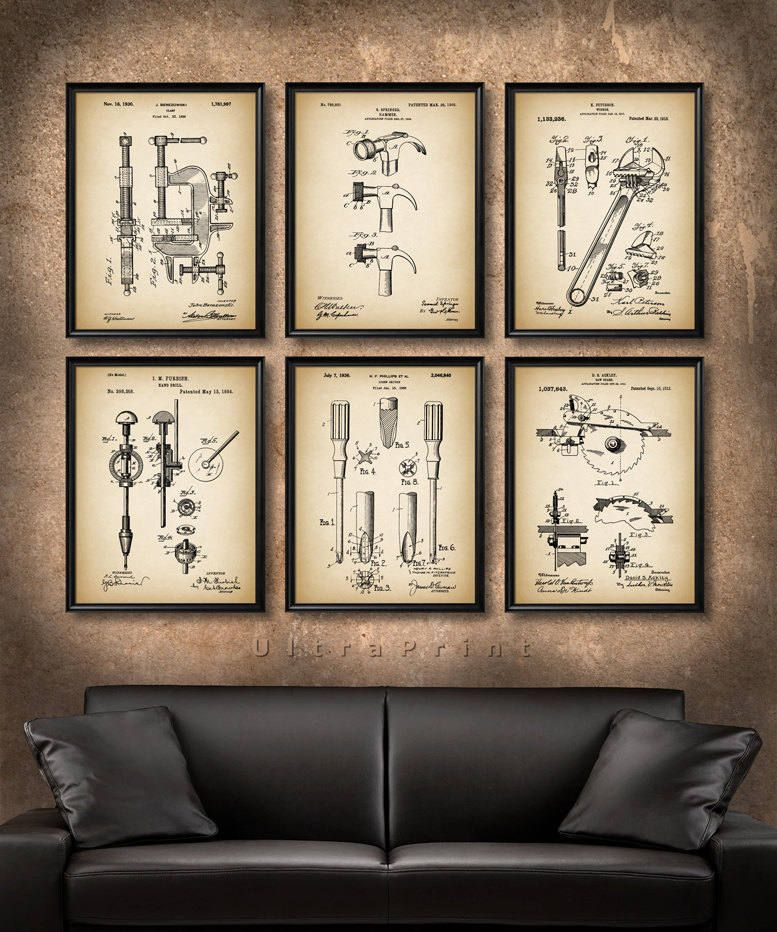 Set Of 6 Tools Vintage Art Print Or Canvas Patent Wall Art Etsy In 2020 Etsy Wall Art Vintage Art Prints Patent Art Prints