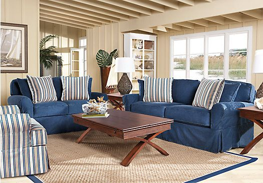 Picture Of Cindy Crawford Home Beachside Blue 7 Pc Living Room From Living  Room Sets Furniture