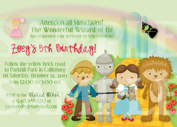 Wizard of Oz Birthday Invitation Personalized Printable
