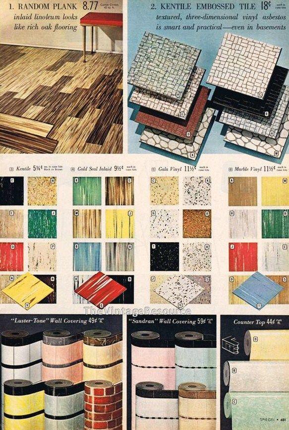 Mid Mod Vinyl Flooring Modern Kitchen Flooring Vintage Home Accessories Embossed Tile