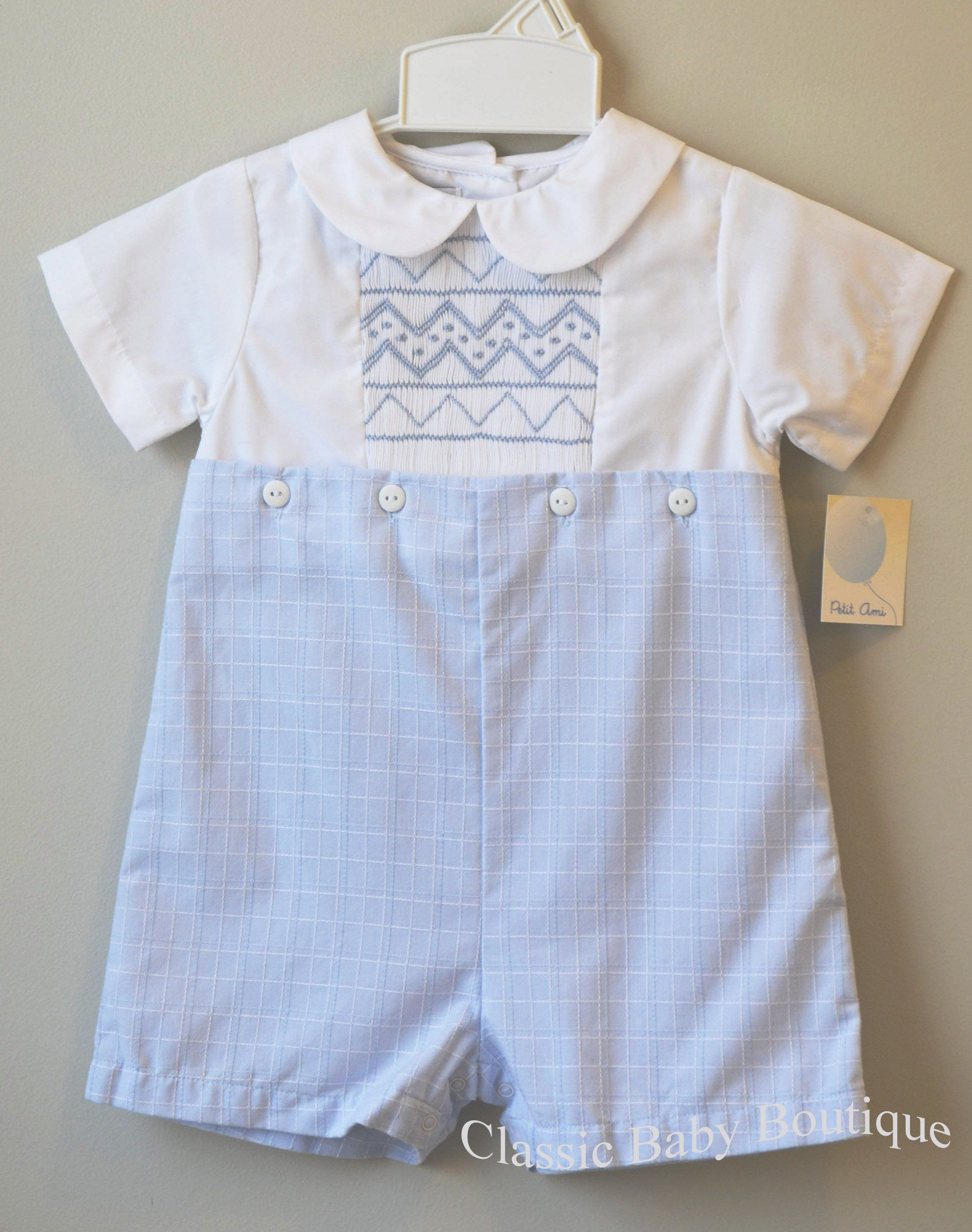 60a8fa0e2 Petit Ami Boys White & Blue Smocked Bobby Suit Romper 3 6 9 12 18 24 Months