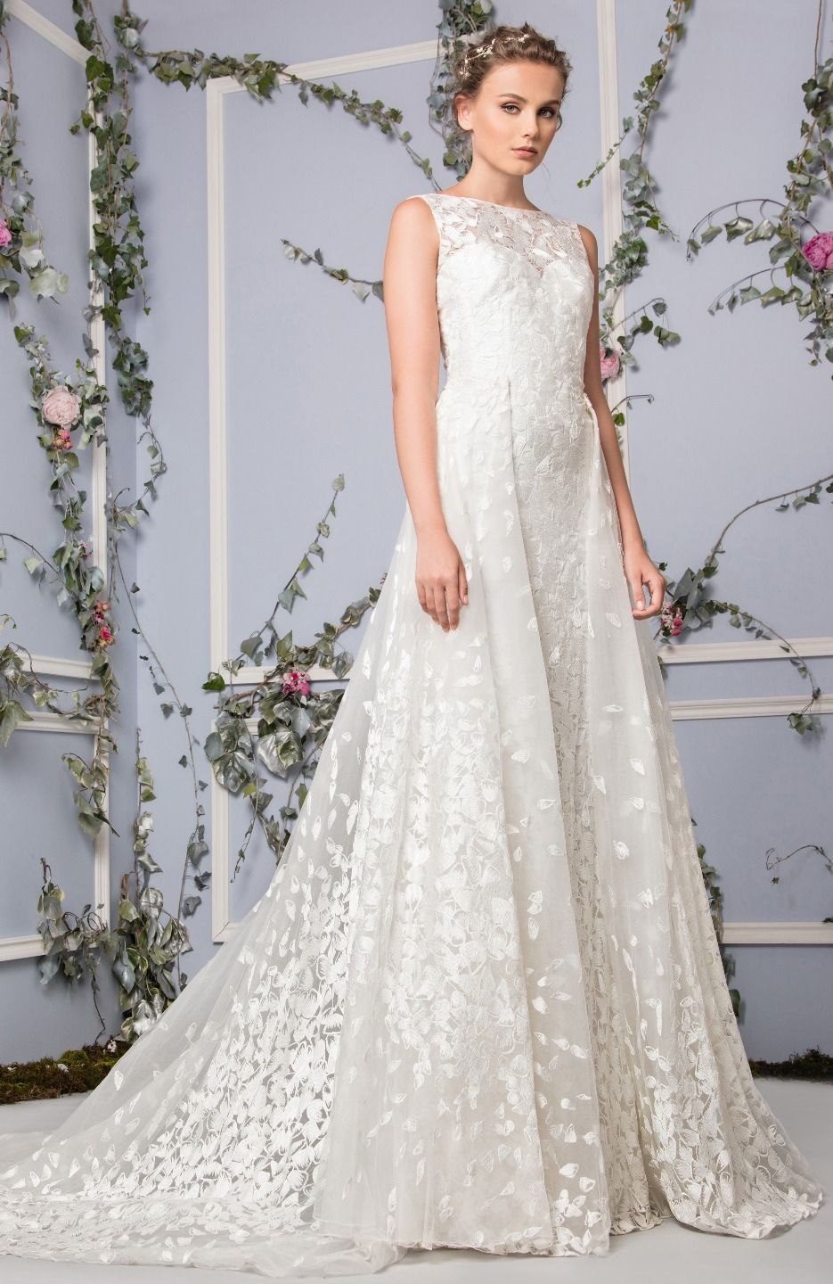 c8e2da1912 Silk-embroidered Off White evening dress with bateau neckline and a  two-side