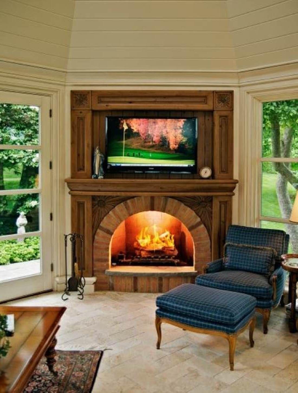 traditional corner fireplace design   Corner electric ...
