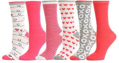 Valentine's Day Soft Crew Socks XOXO Kiss Hug Love Prints, Women's Size 9-11(6 Pairs)Valentine's Day: Keep it straightforward this present Valentine's Day with these all finished print heart design Socks.The consummate approach to spread the affection this February. An ideal method to treat your Valentine without including any calories,Will make an acknowledged present for your extraordinary ValentineLadies sock sizes: 9-11Valentine's Day Gift Socks. Calcetines de amor