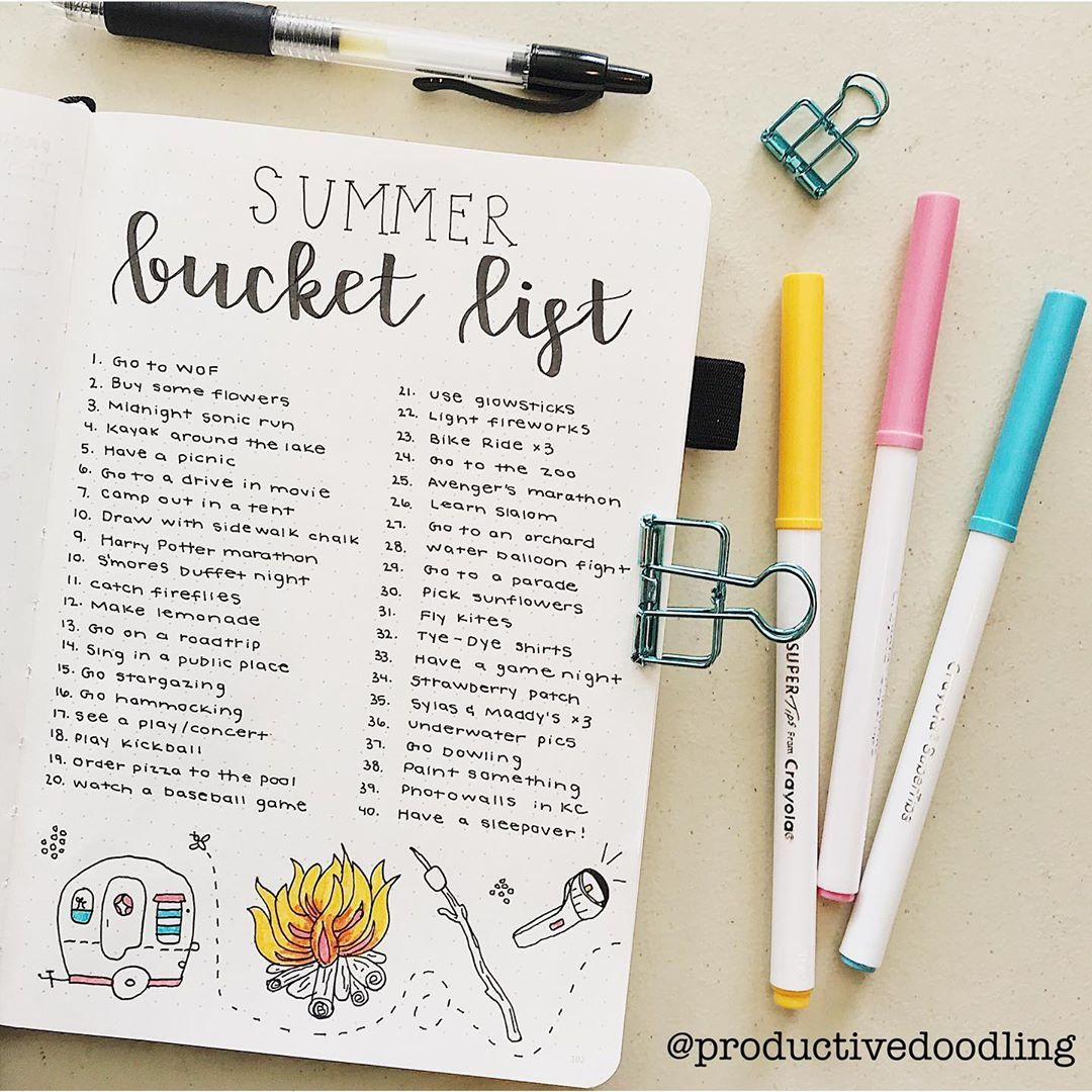my summer bucket list for 2019!!