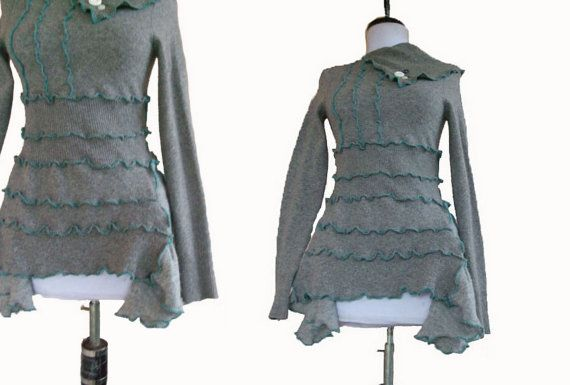 Ruffled Cashmere Tunic S Small Eco Friendly Recycled Sweater Heather Gray Teal