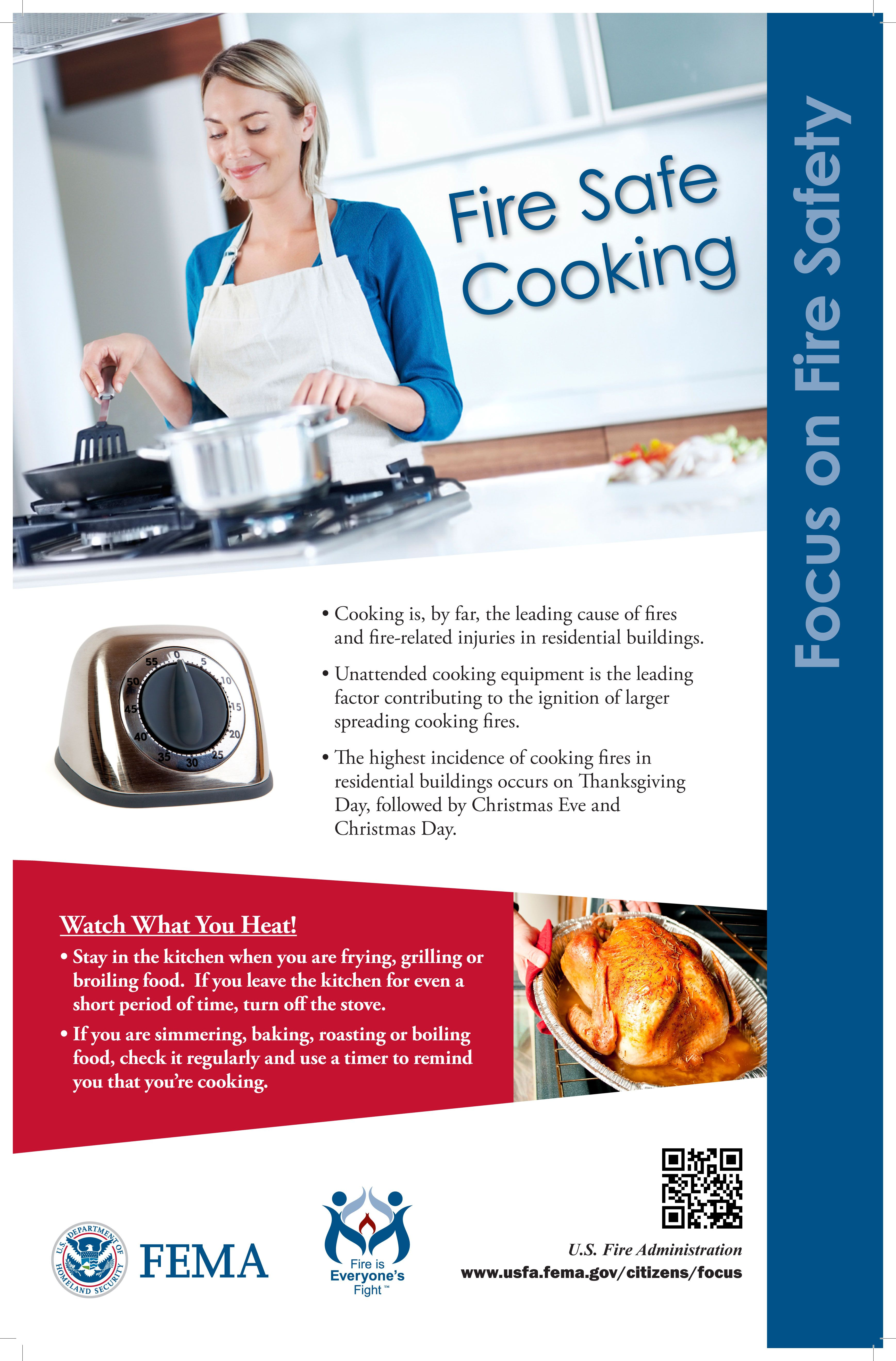 Fire safe cooking information from FEMA Safe cooking