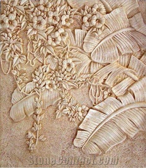 Sandstone Flowers Stone Relievo Beige Sandstone Relievo Sandstone Wall Sandstone Plaster Art