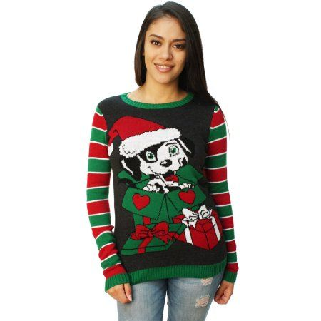 Ugly Christmas Sweater Women's Puppy Present Pullover Sweater ...