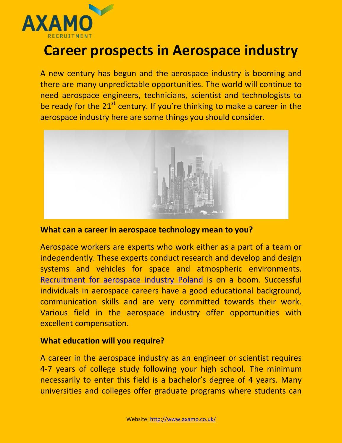 Career prospects in Aerospace industry Recruitment plan