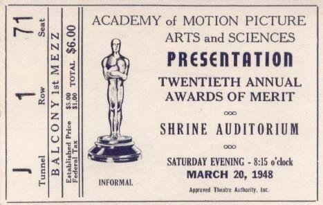 Ticket #AcademyAward, 1948.