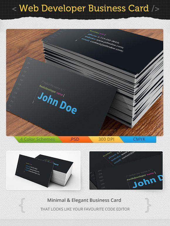 Web Developer Business Card by ICEwave Design on @creativemarket ...