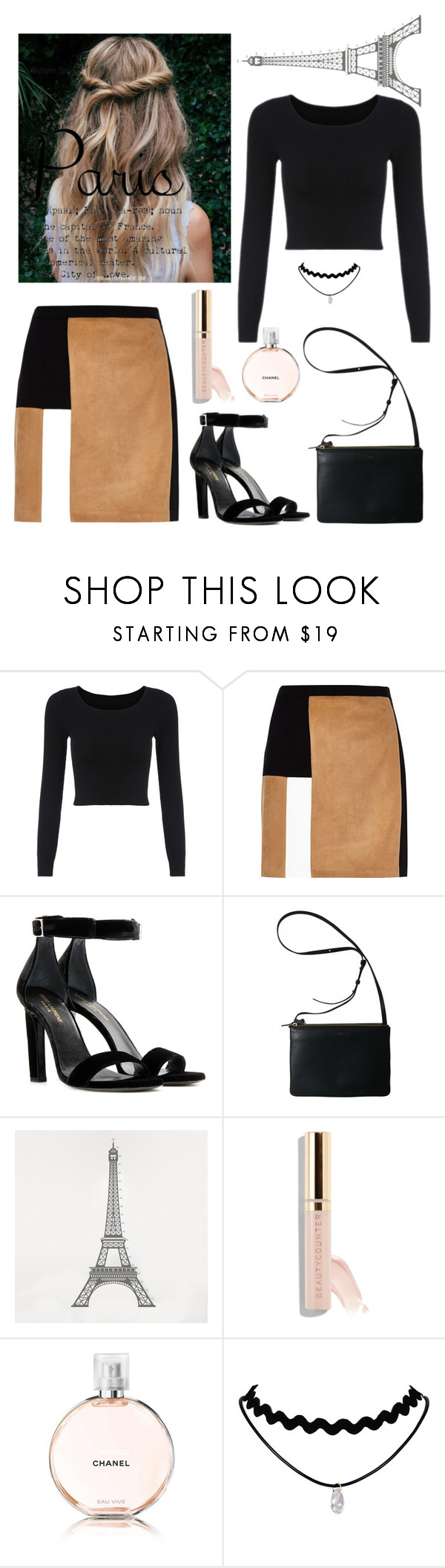"""Paris"" by johannary ❤ liked on Polyvore featuring River Island, Yves Saint Laurent, DOMESTIC, Beautycounter and Chanel"