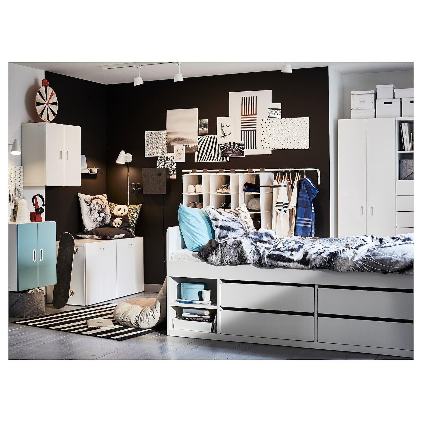 IKEA SLAKT White Bed frame w/storage+slatted bedbase