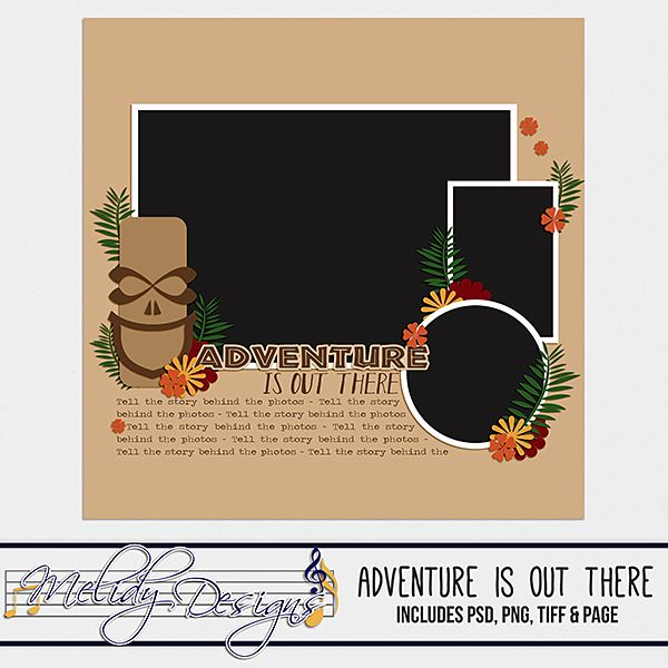 Adventure is Out There, Digital Scrapbooking Template by Melidy Designs