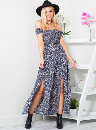 cd0a75f6dcf Women s off Shoulder High Split Floral Printed Maxi Boho Dress OASAP.com