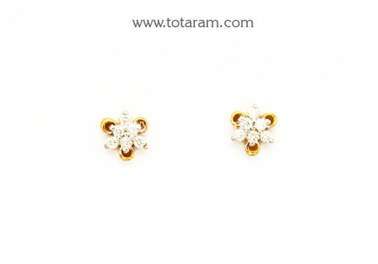 Diamond Earrings for Baby in 18K Gold Totaram Jewelers Buy Indian