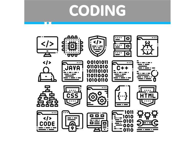 Coding System Vector Thin Line Icons Set Line Icon Icon Set Language Icon