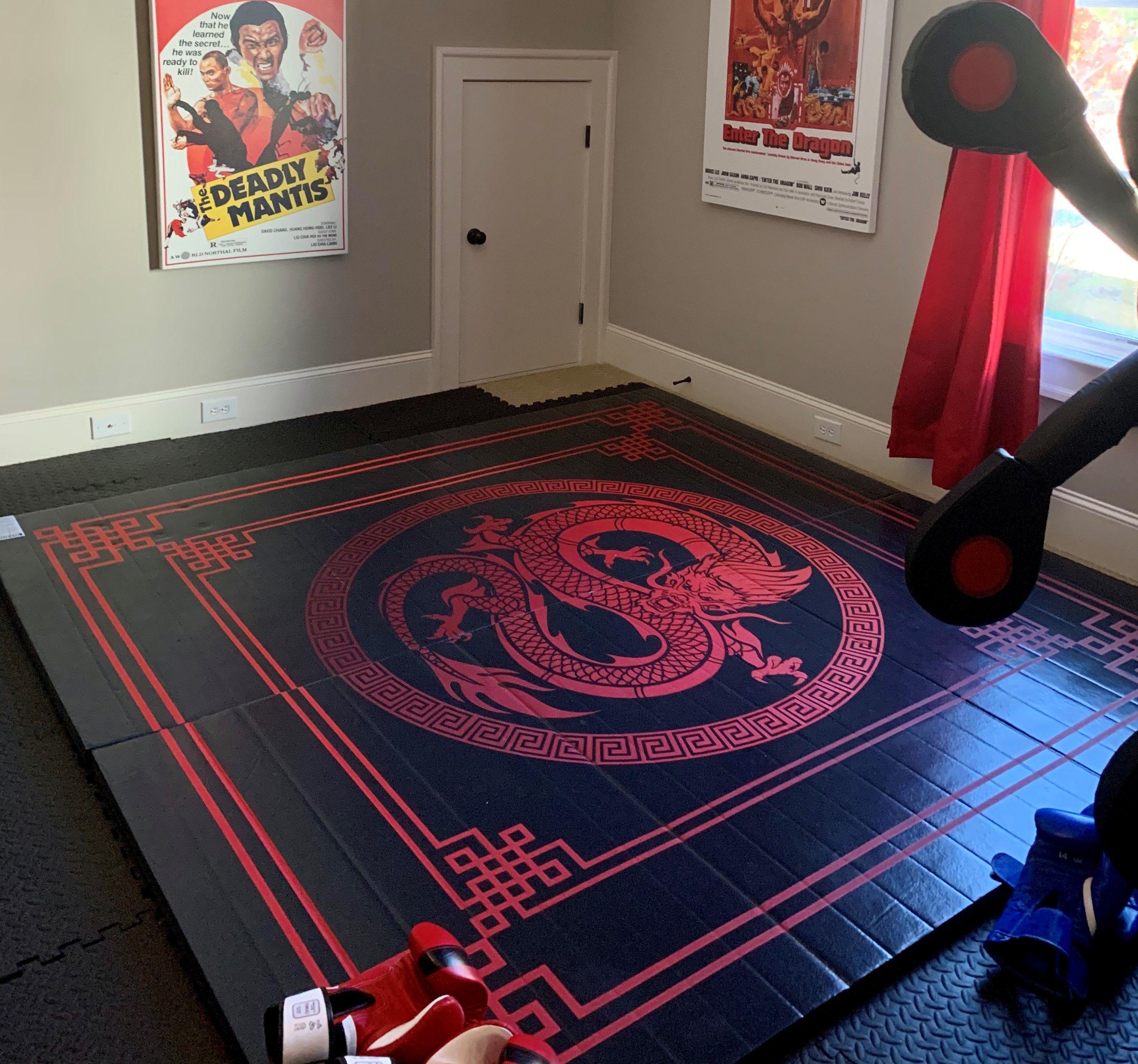 Dragon Digitally Printed 8 X 8 X 1 3 8 Roll Up Mma Grappling Mat Martial Arts Mats Grappling Mats Diy Home Gym