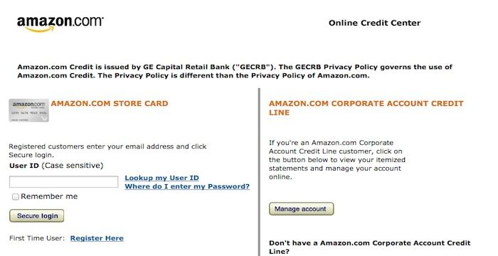 Amazon Credit Card Login Amazon Credit Card Credit Card Retail Banking