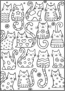 антистресс раскраски кошки детские Adult Colouring Pages