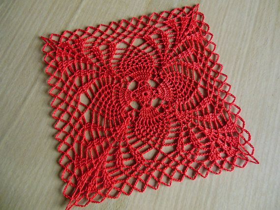 Kumquat Square Crochet Doily Szydełko Wzory Uncinetto Cotone E