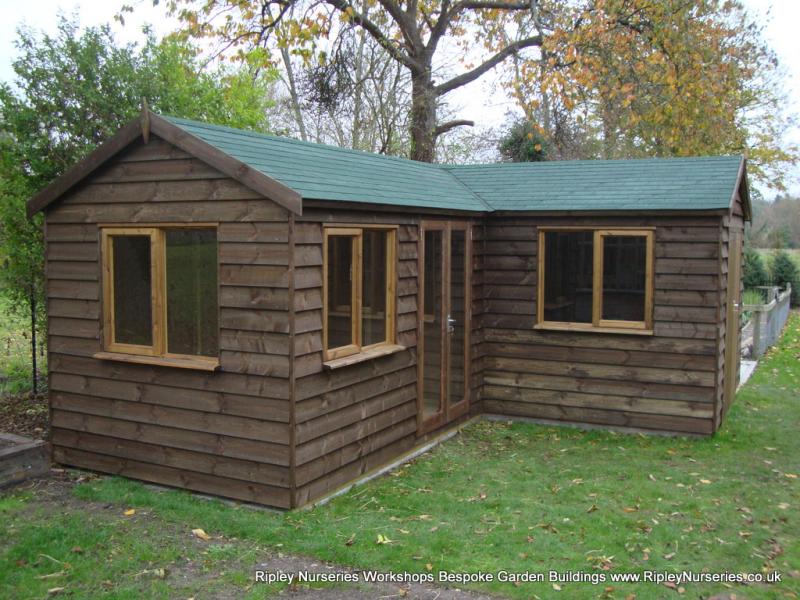 heavy duty workshop 22x20 39 l 39 shaped with felt tiled roof. Black Bedroom Furniture Sets. Home Design Ideas