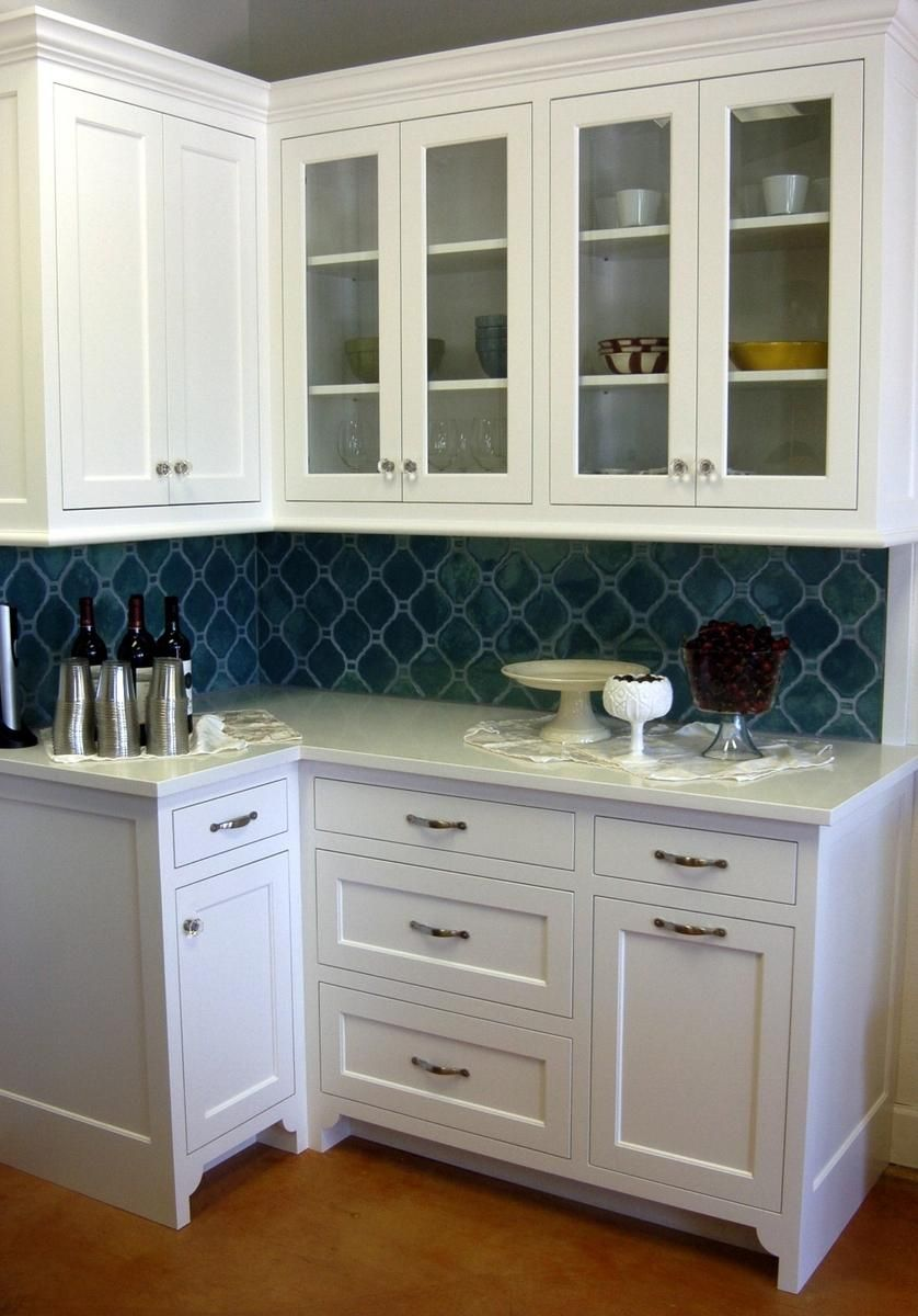 - Robins Egg Blue Tile In An Arabesque Pattern On This Kitchen